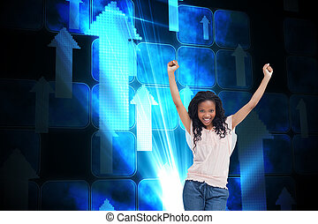 Composite image of a happy young woman is standing with her hands in the air