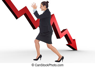 Composite image of angry businesswoman gesturing