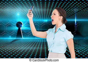 Composite image of angry classy businesswoman yelling at her smartphone