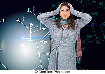 Composite image of anxious pretty brunette wearing winter clothes posing