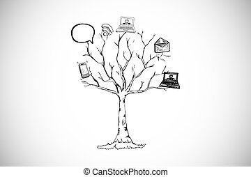 Composite image of application tree doodle - Application...