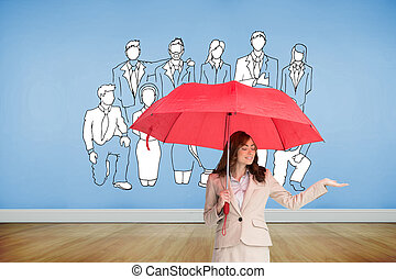 Composite image of attractive businesswoman holding red umbrella