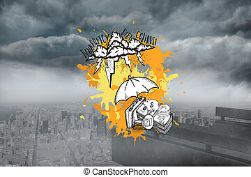 Composite image of bankruptcy concept on paint splashes