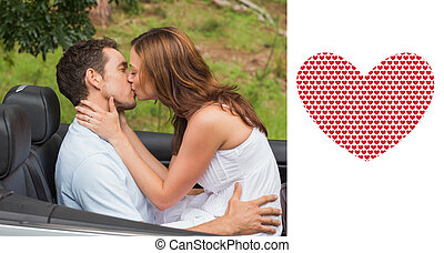 Composite image of beautiful couple kissing in back seat -...