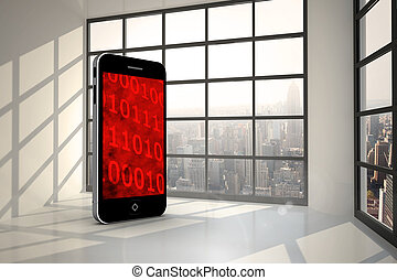 Composite image of binary code on smartphone screen