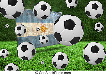 Composite image of black and white footballs - Black and...