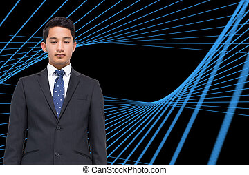 Composite image of black background with blue grid
