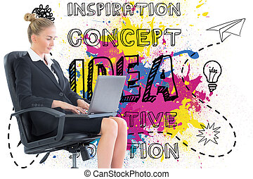 Composite image of blonde businesswoman sitting on swivel chair with laptop