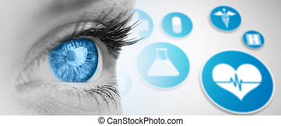 Blue eye on grey face against medical icons in blue and white