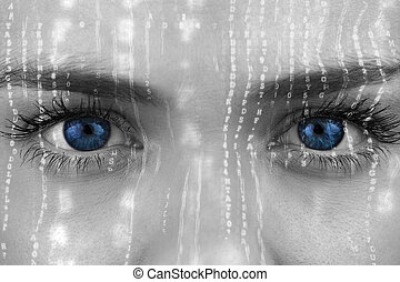 Composite image of blue eyes on grey face against interface