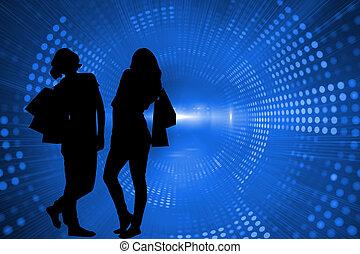 Composite image of blue shiny background