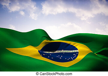 Composite image of brazil flag waving