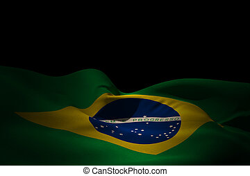 Composite image of brazil flag waving