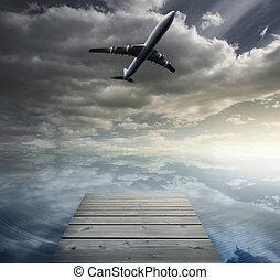 Composite image of bridge over peaceful water