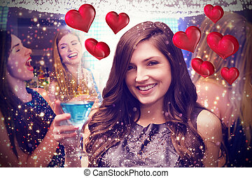 Composite image of brunette with cocktail - Brunette with...