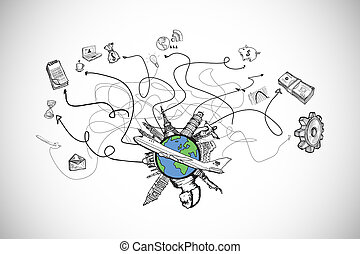 Composite image of business and global travel doodles