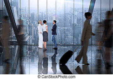 Composite image of business colleagues talking - Business...