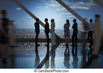 Composite image of business colleagues talking - Business ...
