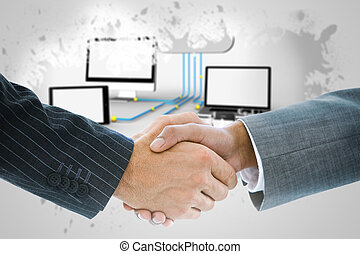 Composite image of business handshake against file transfer...