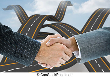 Composite image of business handshake against dollar sign...