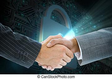 Composite image of business handshake against shiny lock on black background