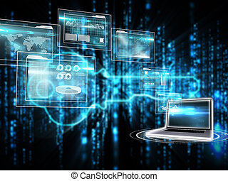 Composite image of business interfaces and laptop - Business...