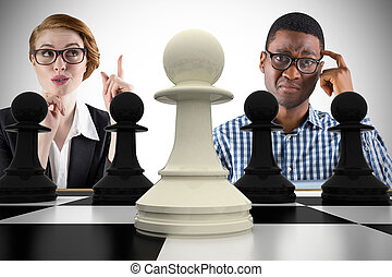 Composite image of business people with chessboard