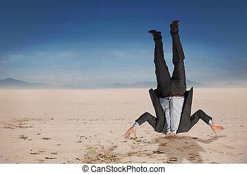 Composite image of businessman burying his head -...