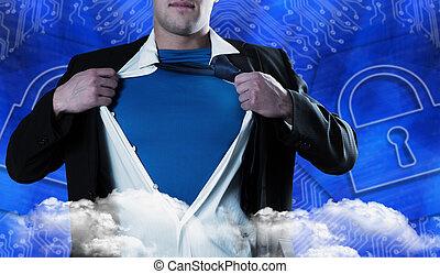 Composite image of businessman opening his shirt superhero ...