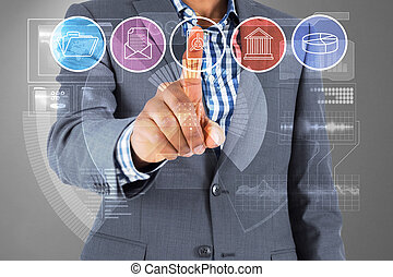 Composite image of businessman pointing at menu - Composite ...
