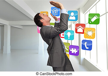 Composite image of businessman standing with arms pressing up