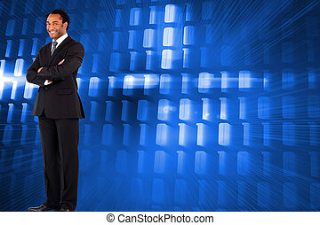 Composite image of businessman with folded arms - Composite...