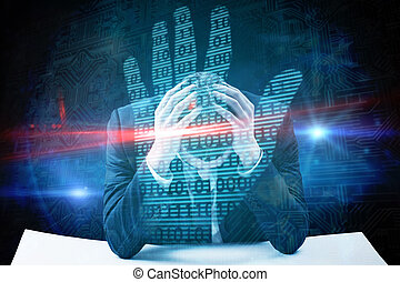 Composite image of businessman with head in hands