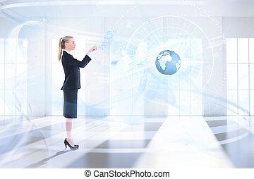 Composite image of businesswoman po