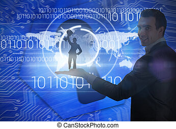 Composite image of businesswoman showing a cup -...