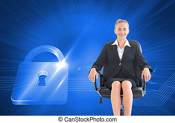 Composite image of businesswoman sitting on swivel chair in black