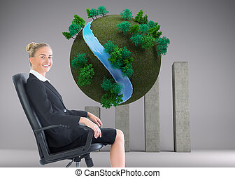 Composite image of businesswoman sitting in swivel chair