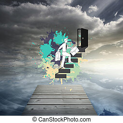 Composite image of career progression concept on paint ...