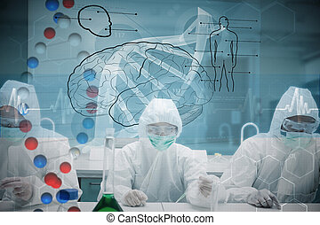 Composite image of chemists working in protective suit with futu