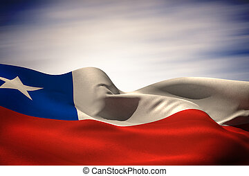 Composite image of chile flag waving