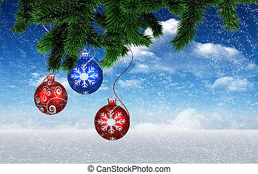 Composite image of christmas decorations