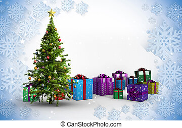 Composite image of christmas tree and presents against blue...
