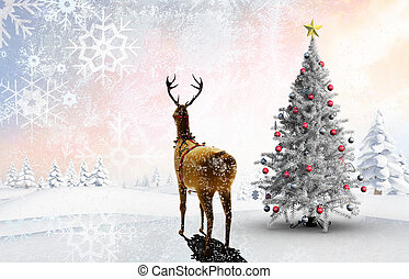 Composite image of christmas tree and reindeer against snowy...