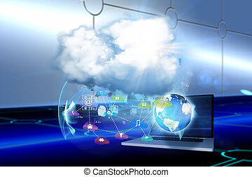 Composite image of cloud computing background - Cloud...