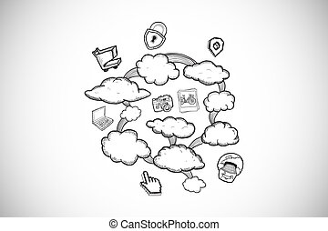 Composite image of cloud computing doodle - Cloud computing...