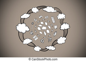 Composite image of cloud computing doodles - Cloud computing...