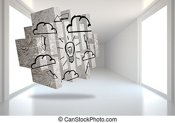 Composite image of cloud computing idea on abstract screen -...