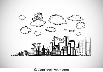Composite image of cog over cityscape doodle - Cog over...