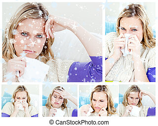 Composite image of collage of a young sick woman