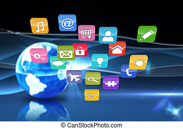 Composite image of colourful computer applications - ...